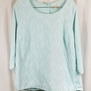 Coldwater Creek Blue Eyelet Button Back Top 2X 20W